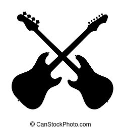 Silhouette of two guitars.