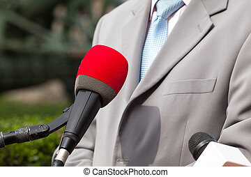 Press interview with businessman or politician - Media...