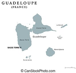 Guadeloupe political map with capital Basse-Terre. Caribbean...