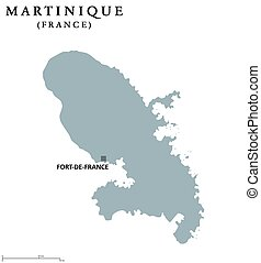 Martinique political map with capital Fort-de-France....