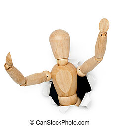 Wooden toy man looks out of hole - Wooden toy man looks out...