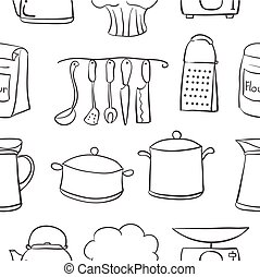 Doodle of kitchen hand draw style vector illustration