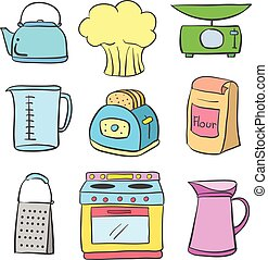 Equipment kitchen colorful doodle style vector art