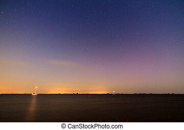 Ijsselmeer nightscape - Nightscape at the Ijsselmeer lake in...