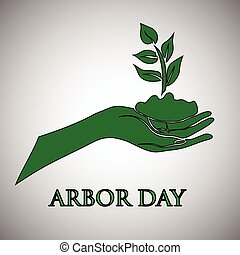 Arbor day concept. - Young green plant and a shovel against...