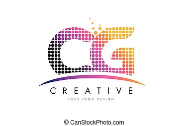 CG C G Letter Logo Design with Magenta Dots and Swoosh - CG...