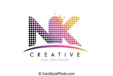 NK N K Letter Logo Design with Magenta Dots and Swoosh - NK...