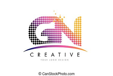 GN G N Letter Logo Design with Magenta Dots and Swoosh - GN...