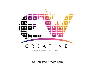 EW E W Letter Logo Design with Magenta Dots and Swoosh - EW...