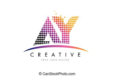 AY A Y Letter Logo Design with Magenta Dots and Swoosh - AY...