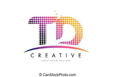 TD T D Letter Logo Design with Magenta Dots and Swoosh - TD...