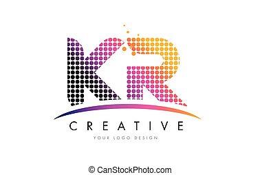 KR K R Letter Logo Design with Magenta Dots and Swoosh - KR...