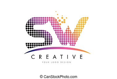 SW S W Letter Logo Design with Magenta Dots and Swoosh - SW...