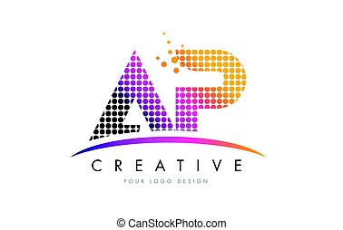 AP A P Letter Logo Design with Magenta Dots and Swoosh - AP...
