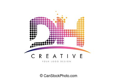DH D H Letter Logo Design with Magenta Dots and Swoosh - DH...