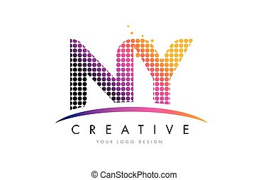 NY N Y Letter Logo Design with Magenta Dots and Swoosh - NY...