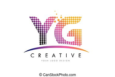YG Y G Letter Logo Design with Magenta Dots and Swoosh - YG...