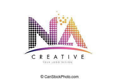 NA N A Letter Logo Design with Magenta Dots and Swoosh - NA...