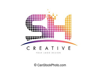 SH S H Letter Logo Design with Magenta Dots and Swoosh - SH...