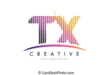 TX T X Letter Logo Design with Magenta Dots and Swoosh - TX...