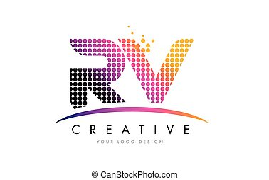 RV R V Letter Logo Design with Magenta Dots and Swoosh - RV...