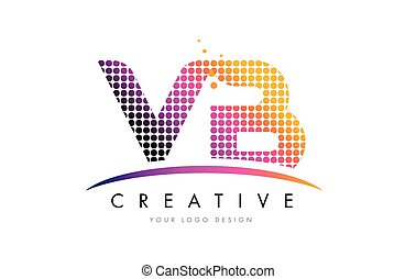 VB V B Letter Logo Design with Magenta Dots and Swoosh - VB...
