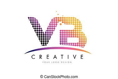 VB V B Letter Logo Design with Magenta Dots and Swoosh - VB...