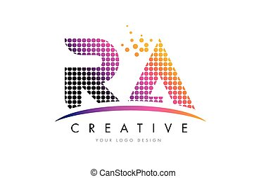 RA R Q Letter Logo Design with Magenta Dots and Swoosh - RA...