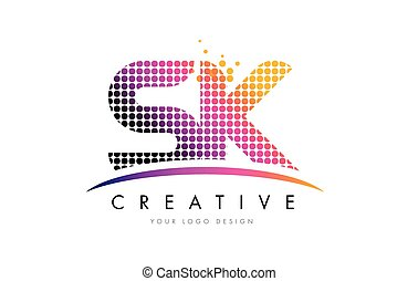 SK S K Letter Logo Design with Magenta Dots and Swoosh - SK...