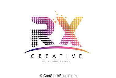 RX R X Letter Logo Design with Magenta Dots and Swoosh - RX...