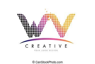 WV W V Letter Logo Design with Magenta Dots and Swoosh - WV...