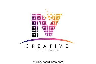 IV I V Letter Logo Design with Magenta Dots and Swoosh - IV...