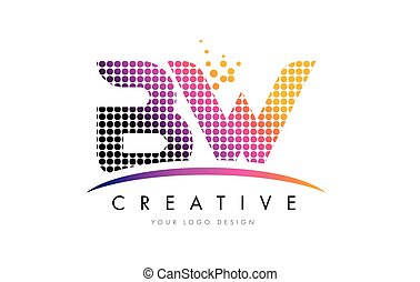 BW B W Letter Logo Design with Magenta Dots and Swoosh - BW...