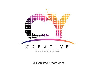 CY C Y Letter Logo Design with Magenta Dots and Swoosh - CY...