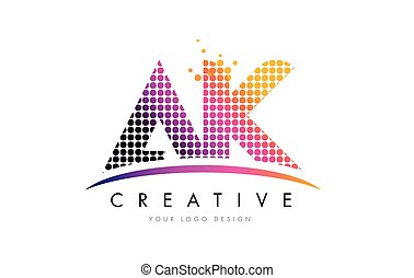 AK A K Letter Logo Design with Magenta Dots and Swoosh - AK...