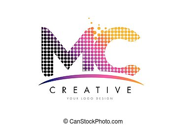 MC M C Letter Logo Design with Magenta Dots and Swoosh - MC...