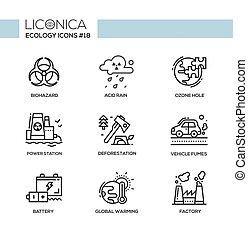 Ecology - black and white modern single line icons set