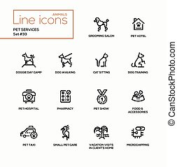 Pet services - modern vector single line icons set