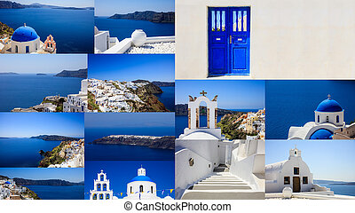 Santorini island, Greece - Collage of Oia village