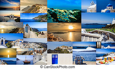 Santorini island, Greece - Collage - Santorini island,...