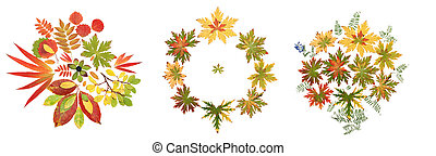 Collage autumn sheet put by pattern on white background. It...