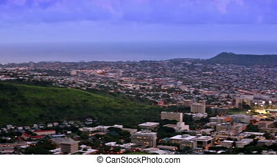 Honolulu icty skyline, Waikiki and Diamond Head from...