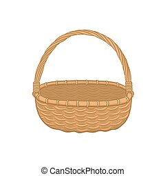 picnic backet icon - Picnic basket isolated on white...