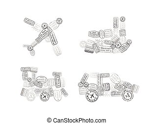 Black immigration stamps arranged in car, plane, ship and train shape isolated on white