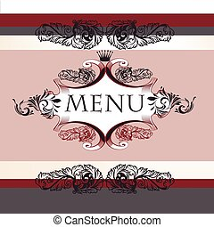 Classic menu design in vintage style with banner and...