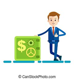 Cartoon Businessman Stands near Safe Illustration - Cartoon...