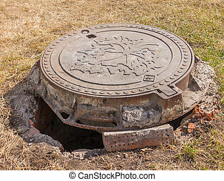 Metal Sanitary sewer manhole cover, top view