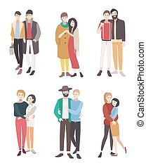 Gay couples flat colorful illustration. LGBT men and women...