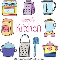 Doodle kitchen equipment colorful style vector illustration