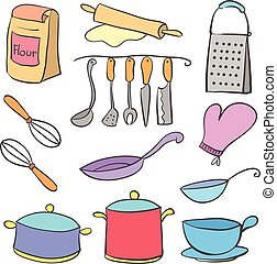 Colorful kitchen equipment doodle style vector illustration